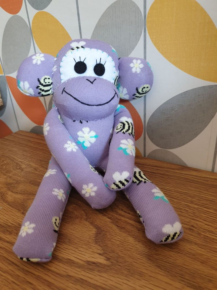 Lilac Sock Monkey with Bees