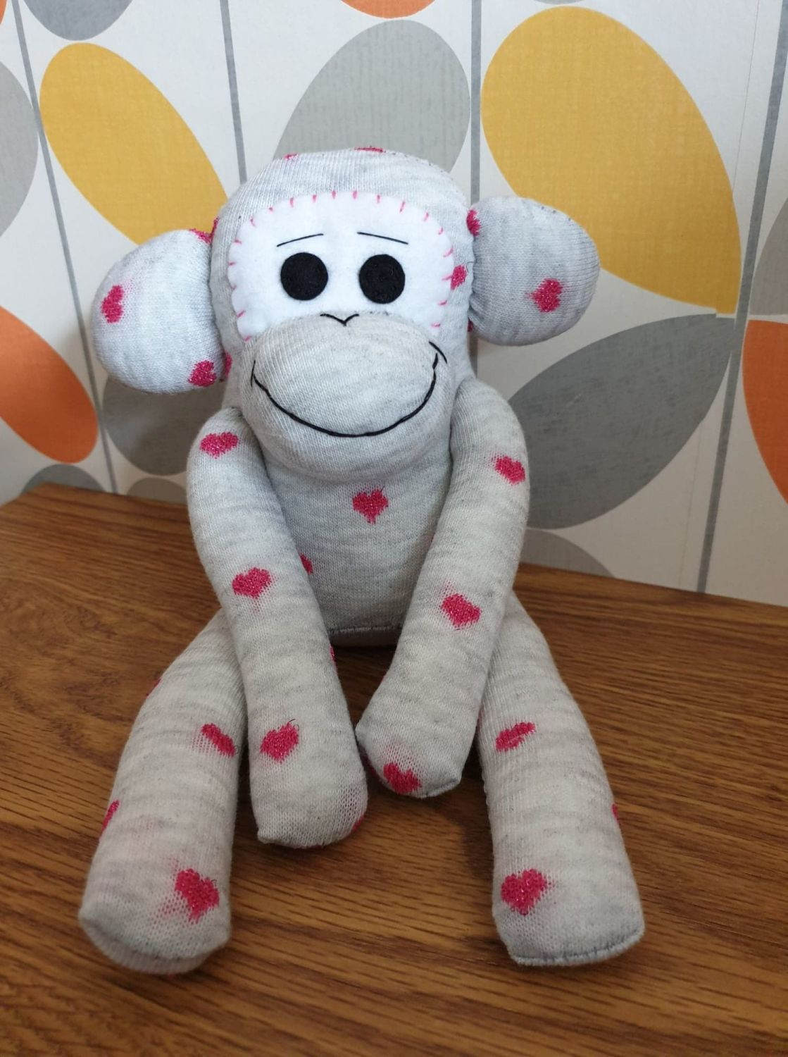 Grey Sock Monkey with Hearts