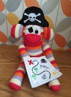 Red Striped Pirate Sock Monkey