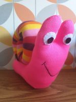 Bright Pink Sock Snail with Stripy Shell