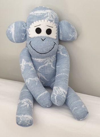 Light Blue Dinosaur skeleton Sock Monkey