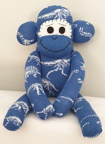 Bright Blue Dinosaur skeleton Sock Monkey