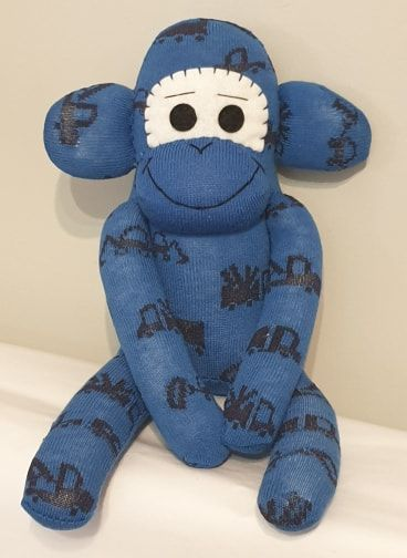 Blue digger dumper truck Sock Monkey
