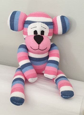 Pink Striped Sock Bear