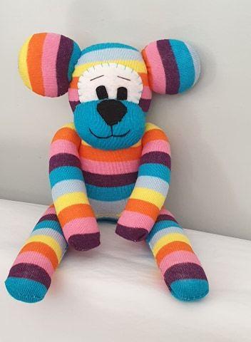 Multi coloured Striped Sock Bear
