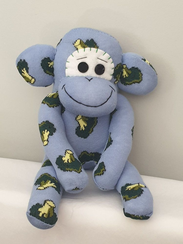 Blue Broccoli  Sock Monkey
