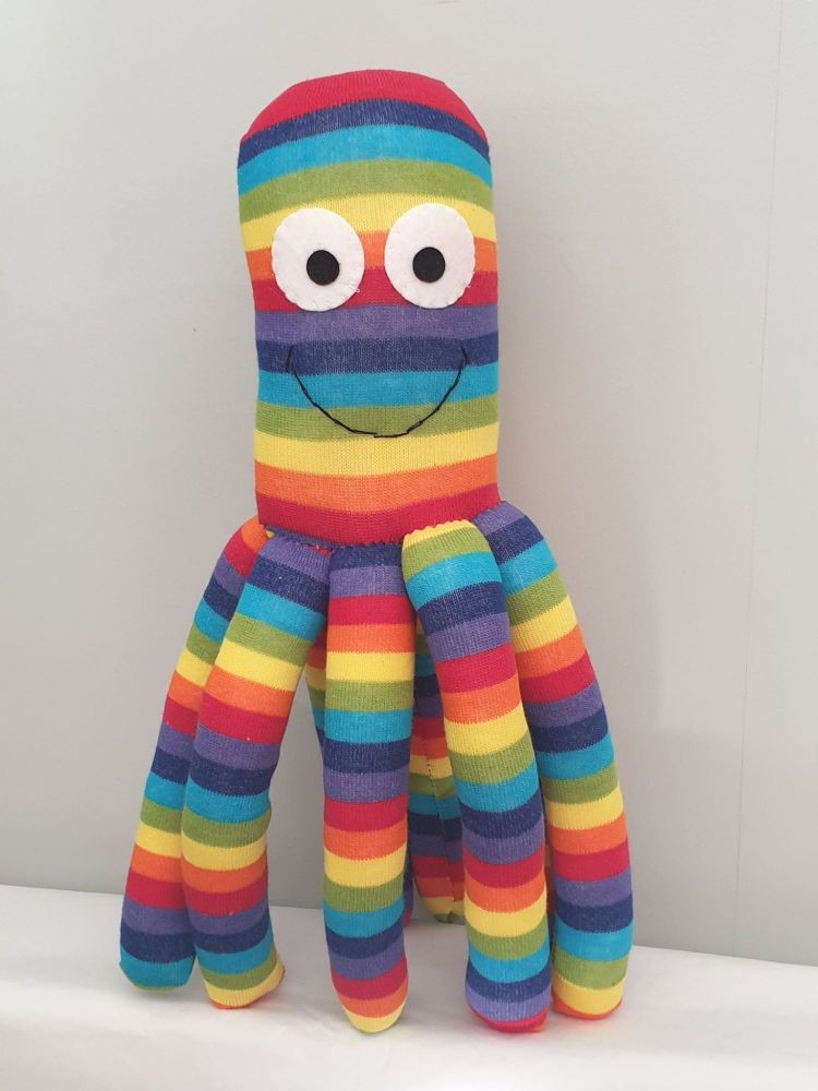 Large Rainbow Coloured Octopus Socktopus
