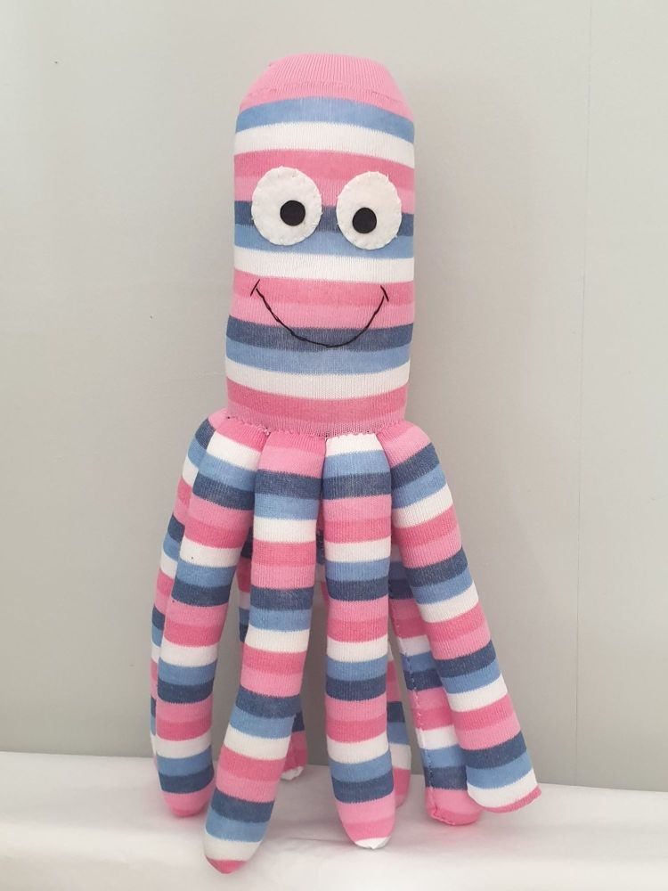 Large Stripy  Coloured Octopus Socktopus