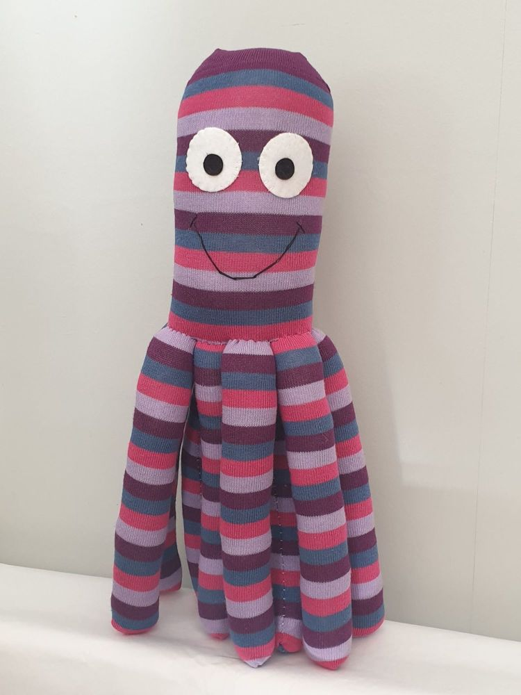 Large Purple Stripy  Coloured Octopus Socktopus