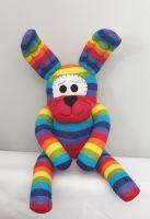 Rainbow Stripey Sock Rabbit/Bunny