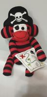 Red & Black Striped Sock Monkey Pirate