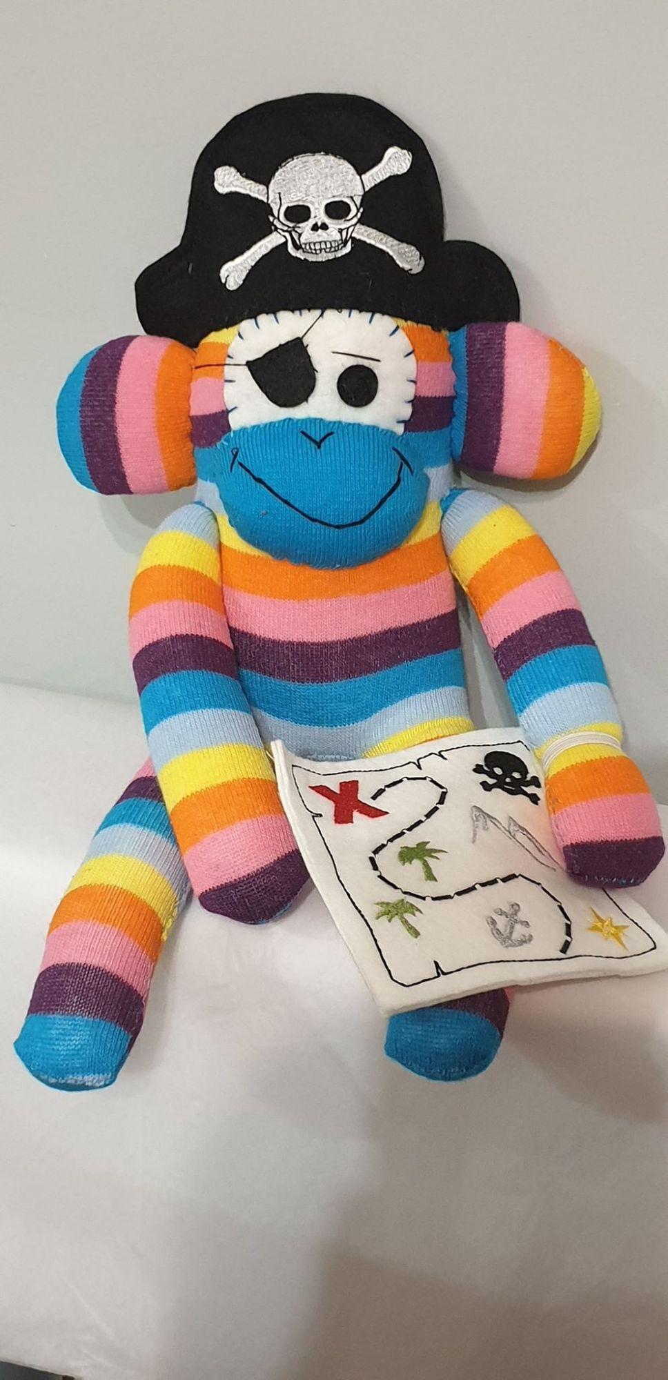 Bright Striped Sock Monkey Pirate