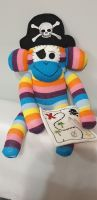 Bright Striped Sock Monkey Pirate