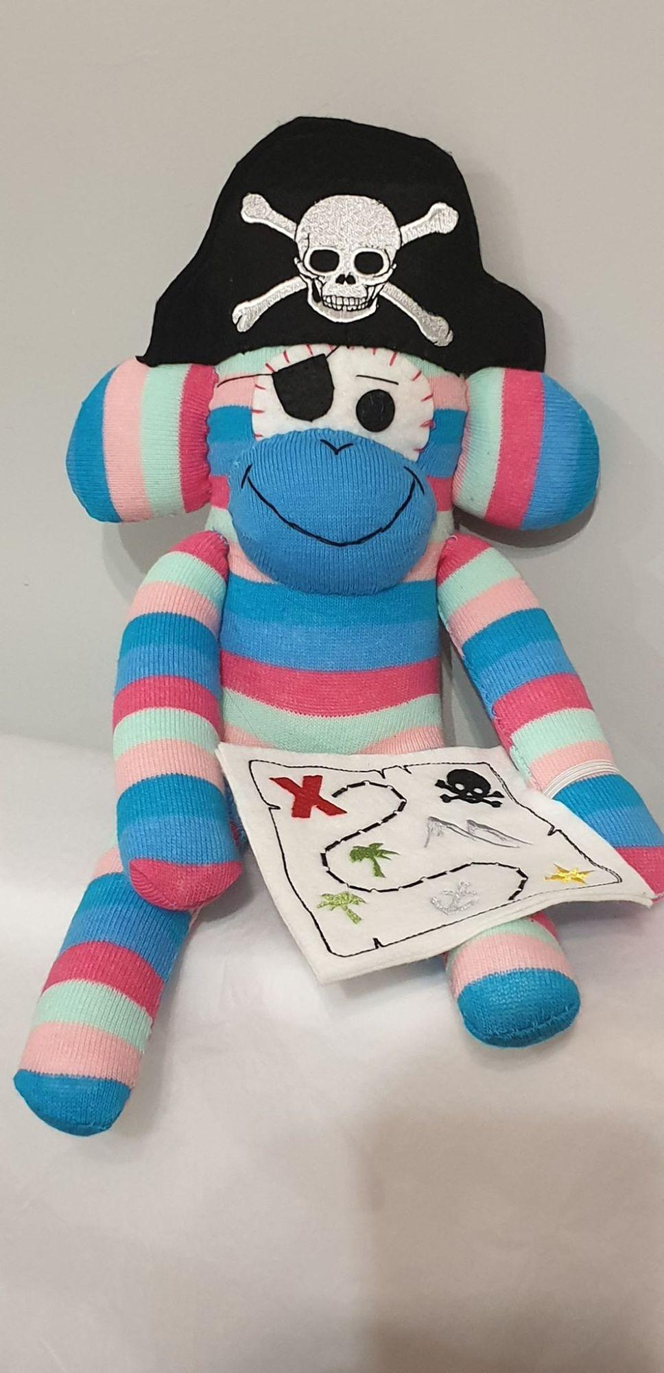 Blue pink  Striped Sock Monkey Pirate