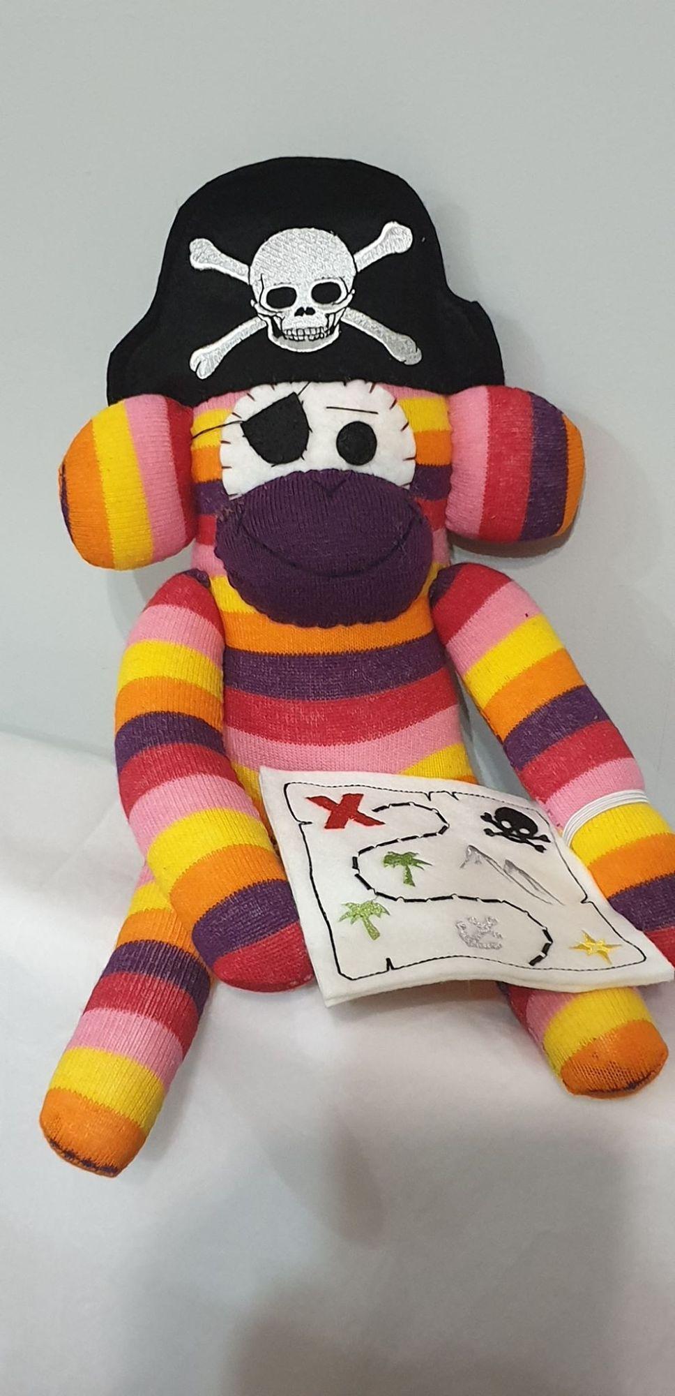 Bright Colourful  Striped Sock Monkey Pirate