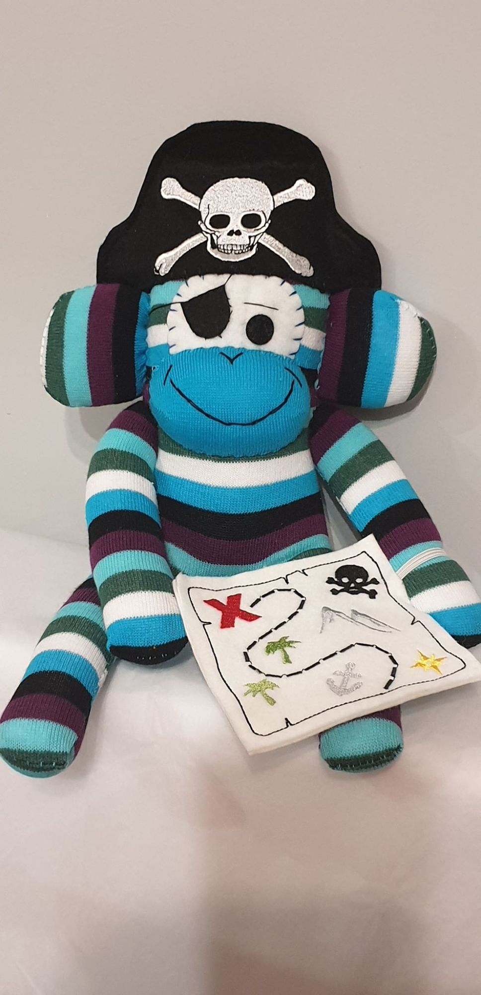 Blue Striped Sock Monkey Pirate