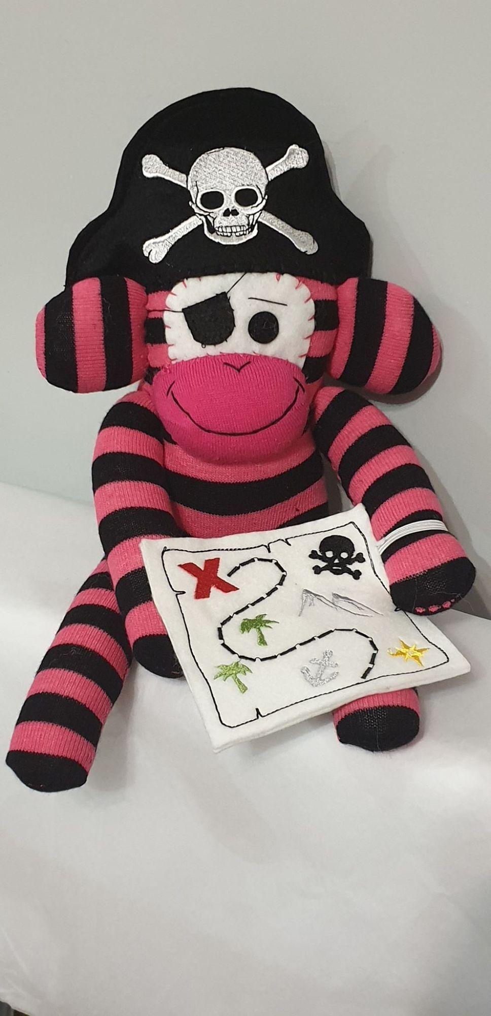 Back & pink  Striped Sock Monkey Pirate