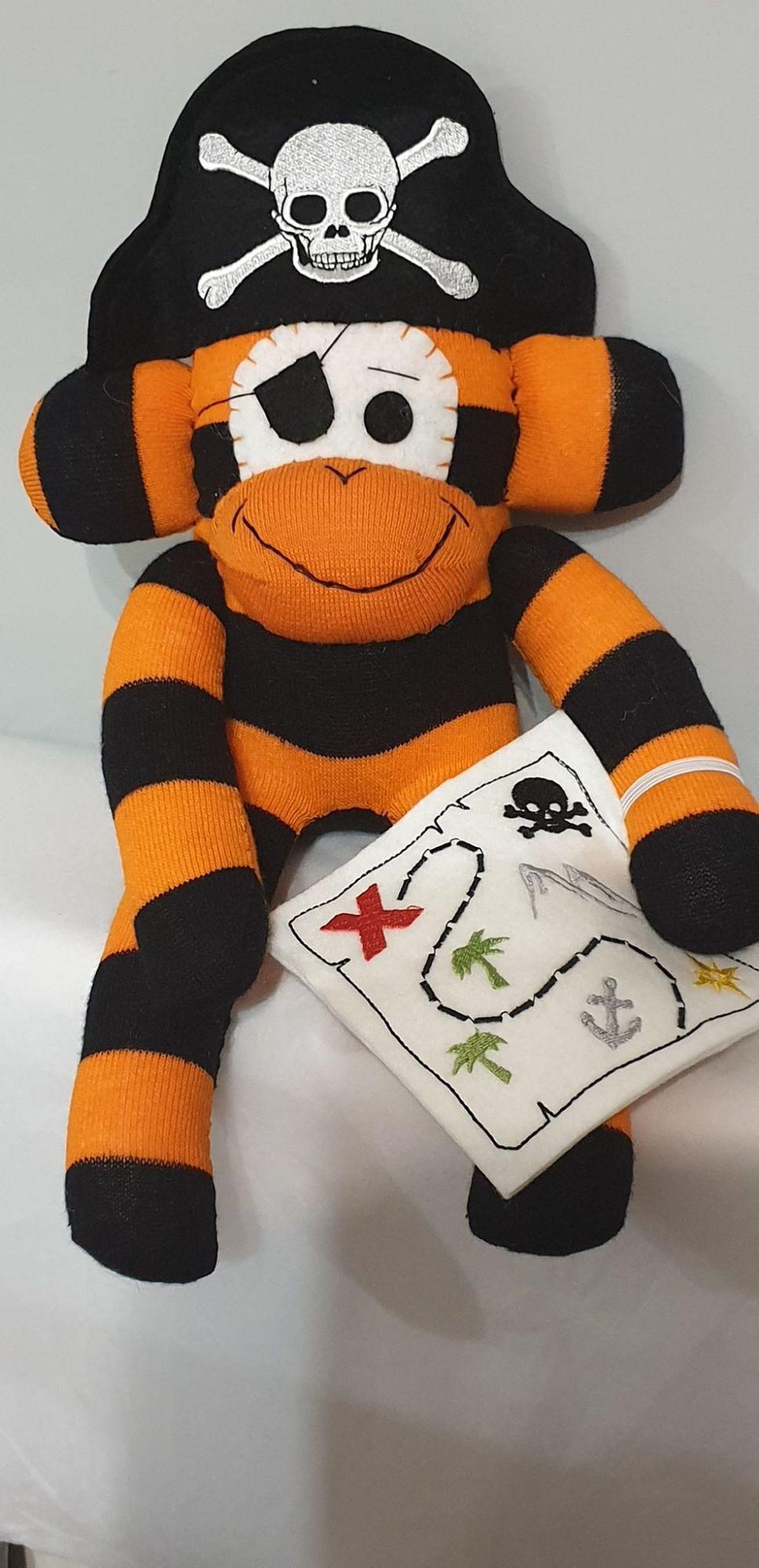 Orange & Black Striped Sock Monkey Pirate