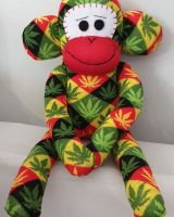 Large Colourful Cannabis Leafy Sock Monkey