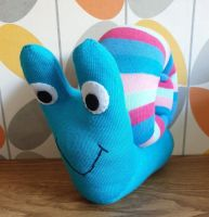 Bright Blue Sock Snail with Stripy Shell