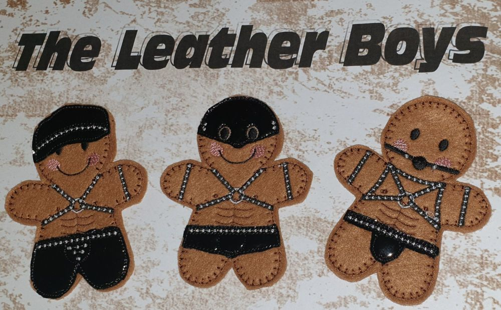 Leather Gingerbread boys set of 3