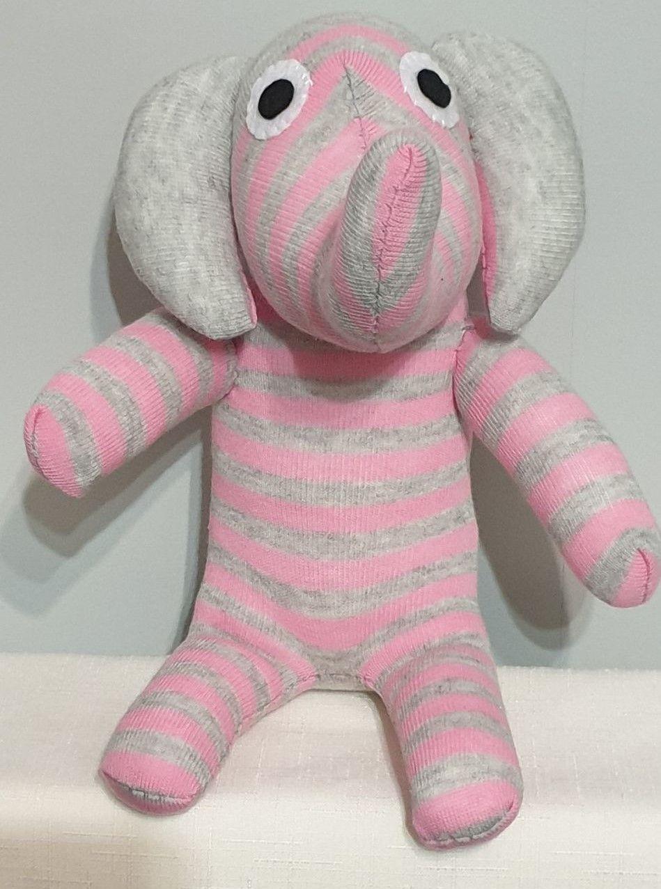 Pink & Grey striped Sock Elephant