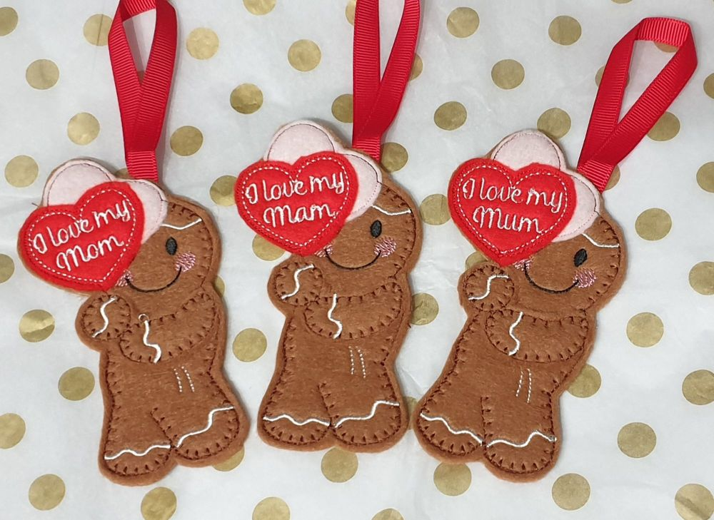 I Love Mam, Mum or Mom Gingerbread  Mother's Day
