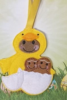 Dress up Chick Gingerbread with Family hatching from egg. Easter