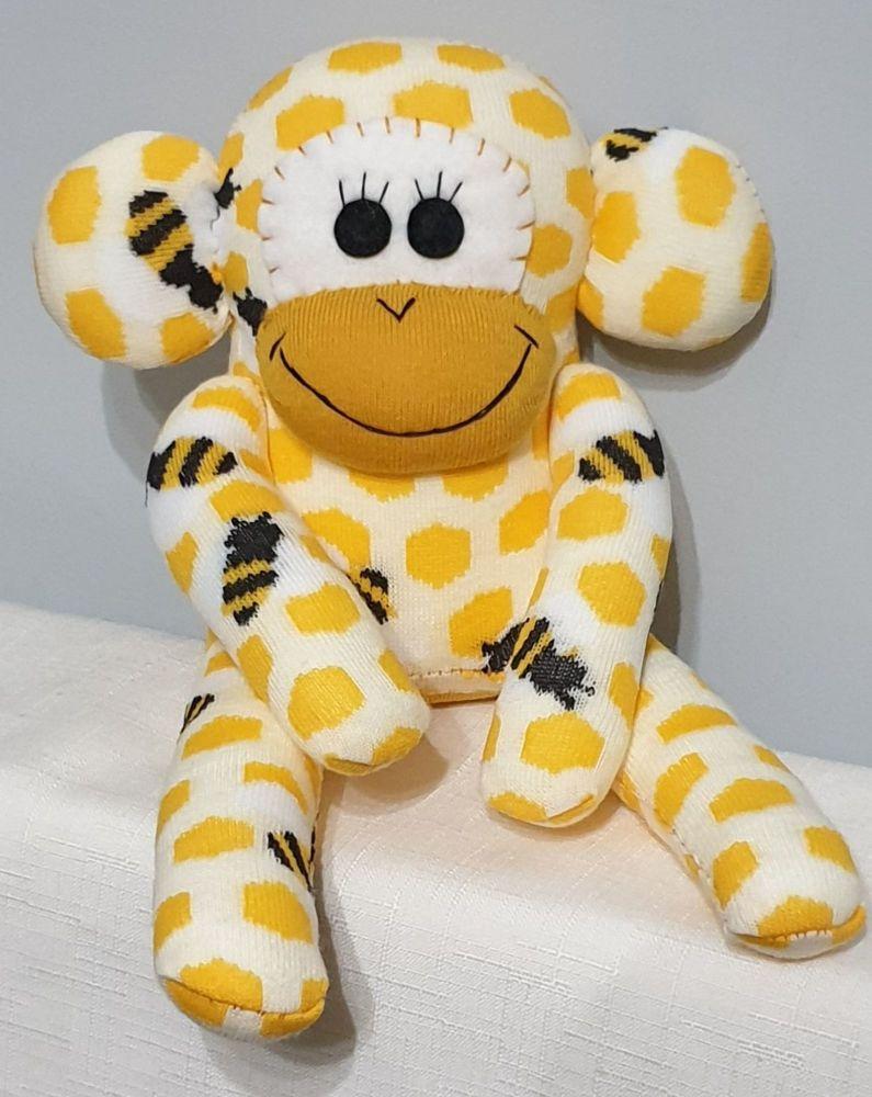 Yellow Bee Sock Monkey Handmade by Sockadoo