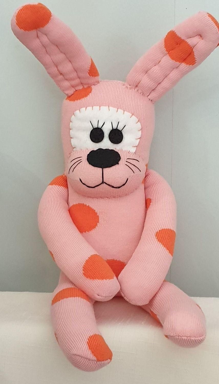 Peachy Coloured Sock Rabbit/Bunny. Handmade by Sockadoo