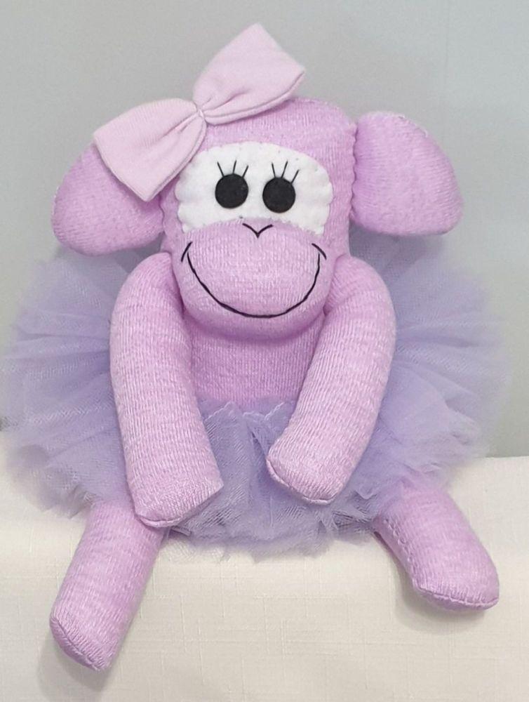 Lilac Ballerina Sock Monkey. Handmade by Sockadoo