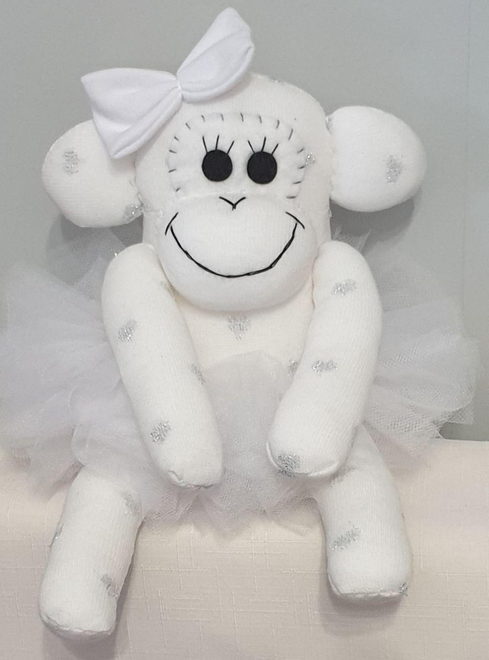 White Ballerina Sock Monkey. Handmade by Sockadoo