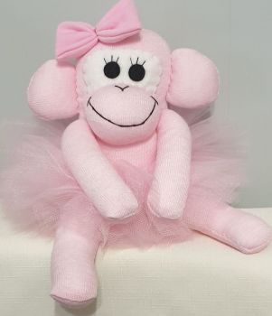 Light Pink Ballerina Sock Monkey. Handmade by Sockadoo