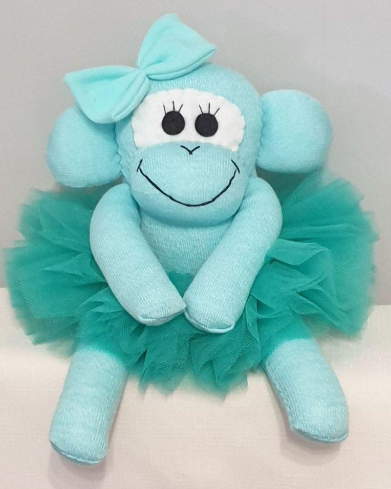 Turquoise Ballerina Sock Monkey. Handmade by Sockadoo
