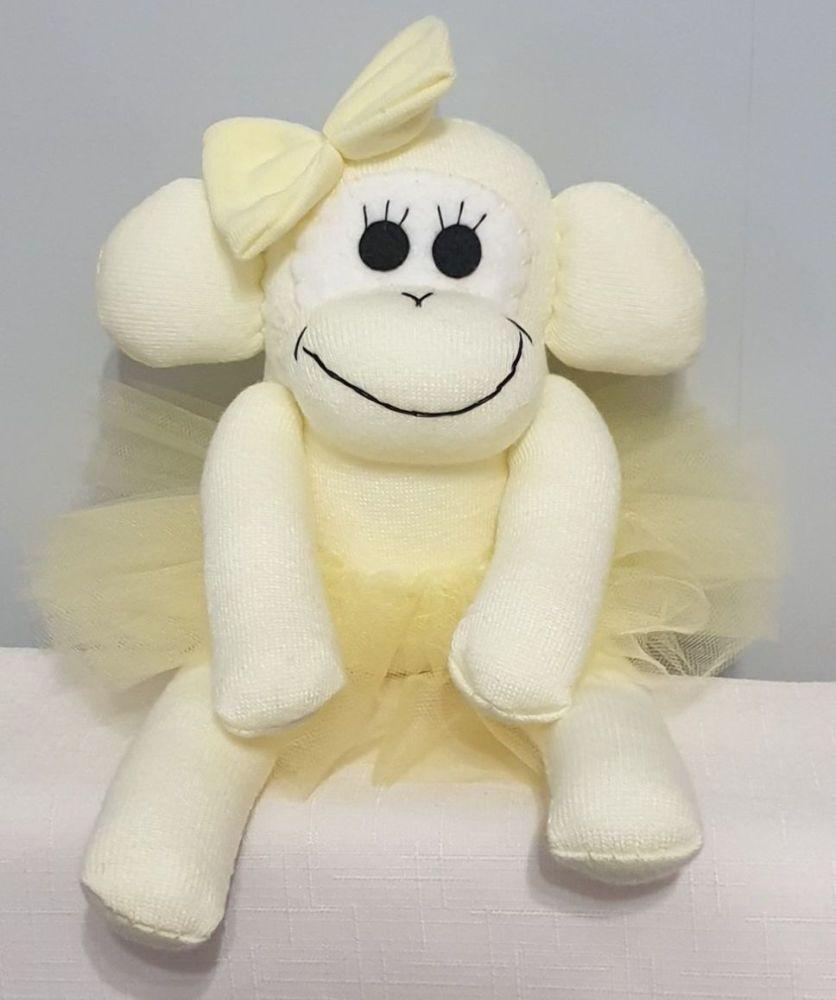 Lemon Yellow Ballerina Sock Monkey. Handmade by Sockadoo