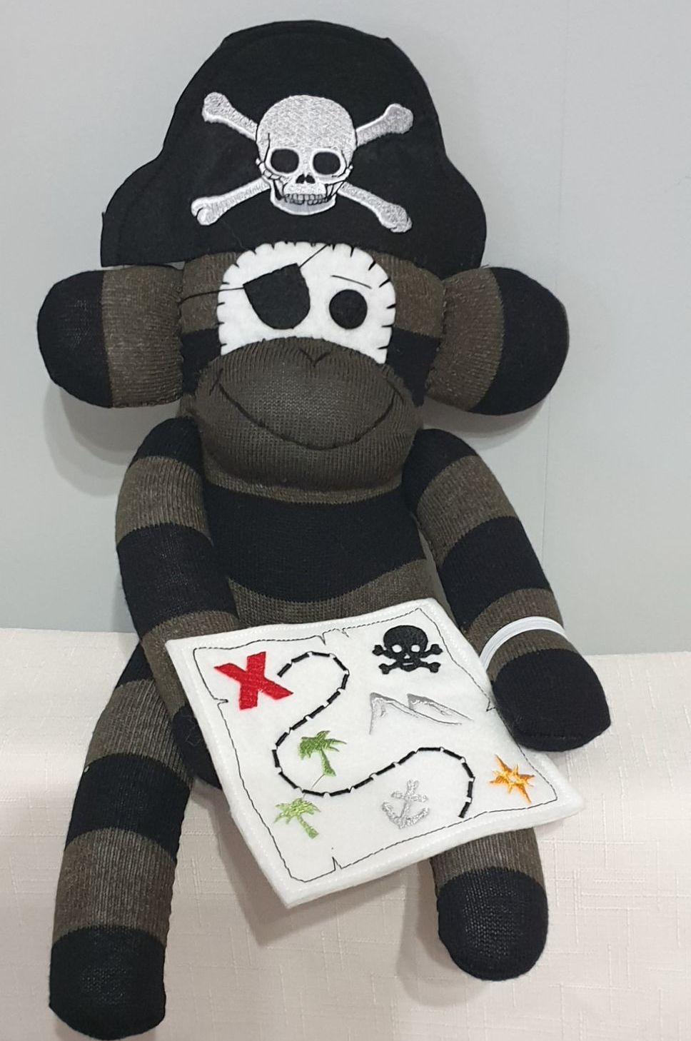Khaki & Black Pirate Sock Monkey with Treasure Map. Handmade by Sockadoo