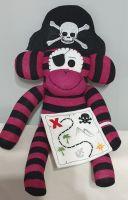 Burgundy & Black coloured Pirate Sock Monkey with Treasure Map. Handmade by Sockadoo