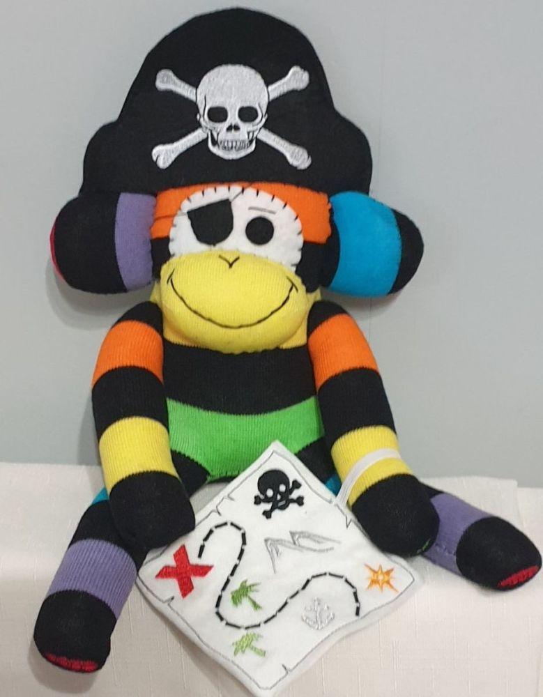Multi coloured & Black striped Pirate Sock Monkey with Treasure Map. Handma