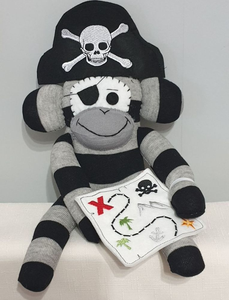 Grey & Black coloured Pirate Sock Monkey with Treasure Map. Handmade by Soc