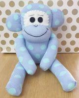 Mid Blue Spotty Sock Monkey. Handmade by Sockadoo