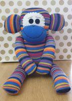 Bright Striped Sock Monkey. Handmade by Sockadoo