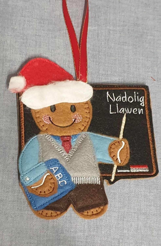 Christmas Hat Teacher Blackboard Gingerbread