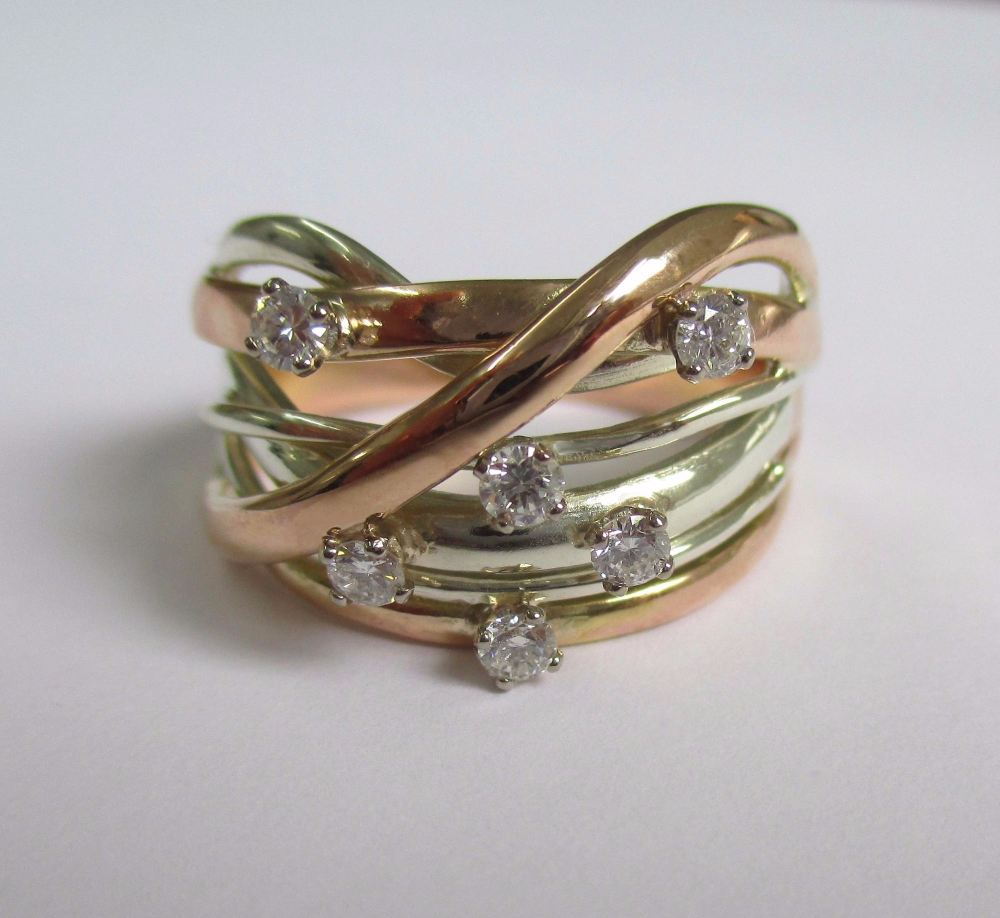 Rose Gold And White Gold Squiggle Ring