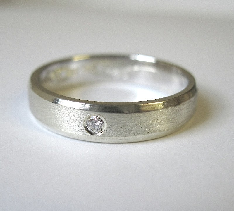 bevelled edge silver and diamond ring