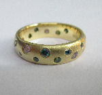 Pink, green and blue diamond, 18ct yellow gold 'Scatter Ring'