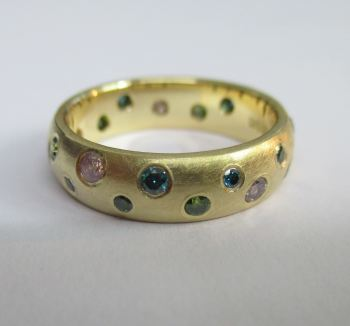 Pink Green And Blue Diamond Scatter Ring