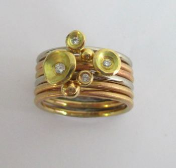 18ct red gold and diamond stacks