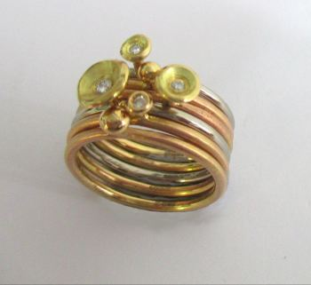 18ct red gold stacks from below