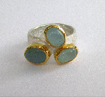 Aquamarine, 22ct Gold and Sterling Silver Ring
