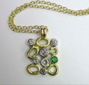 Diamond And Chrome Tourmaline 18ct Two Coloured Gold Necklace